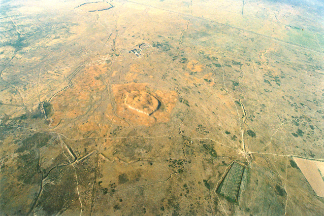 Three parts of Karatobe medieval city (Early Sauran): citadel, shahristan, ribad. The distant object – Sauran medieval city. Air photo (2006).