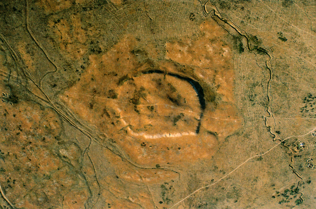 Air photo of citadel and shahristan of the medieval city Karatobe (Early Sauran) (2006).